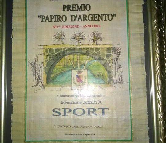 "Il ""Papiro d'Argento"" a Sebastiano Melita"