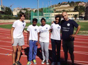Da sinistra Borella, Gunarathng, Warnakulasuriya, Wickramapala ed il tecnico Rinaldi (Polisportiva Messina)