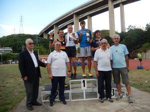 I vincitori dei premi speciali 27° Memorial Vittorio Magazzù con i dirigenti delle società organizzatrici dei Campionati Regionali Assoluti