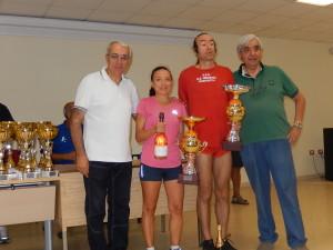 I vincitori Maria Pistone (Forte Gonzaga) e Natale Grosso (Indomita Torregrotta premiati dal presidente della Fidal Messina Andrea D'Andrea e dal vicesindaco di Letojanni Eugenio Bonsignore